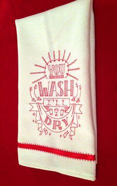 You Wash I'll Dry Cotton Hand Towel -- handmade by janeshand.com!