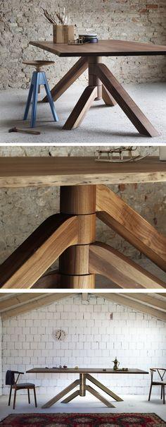 Der extravagante Esstisch Keplero hat eine massive Tischplatte aus Walnussholz, die vier Beine können frei in eine Wunschposition gebracht werden. #Esstisch #Tisch #Esszimmer #table #diningroom #Design #Möbel #Wohntrend #Holz #Wohnstil #home #einrichten #wohnen #Inneneinrichtung #interiordesign #interiordecoration #modern #zeitlos #minimalistisch #minimalism #Livarea #Miniforms