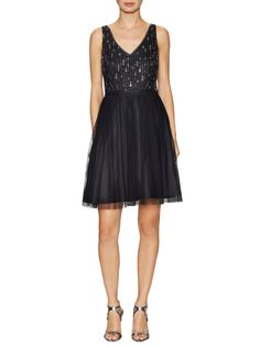 Adrianna Papell Embellished Pleated A Line Dress