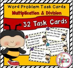 Students will get a kick out of these Bee Themed Word Problem Task Cards as they practice using multiplication and division problem solving strategies. The word problems have simple sentences and uses simple multiplication and division facts. These task cards are great for beginners.