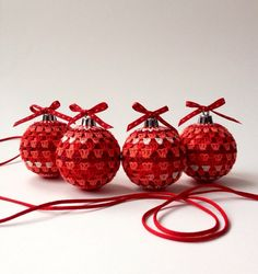 Christmas Ornaments-Tree Decorations-Crocheted Baubles-Crochet Ornament, Red, Colourful, Home Decor on Etsy, £15.00