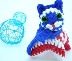 Patriotic gift, amigurumi cat, American flag decor, blue white red ornaments decoration, Independence day, patriotic party decor, USA style