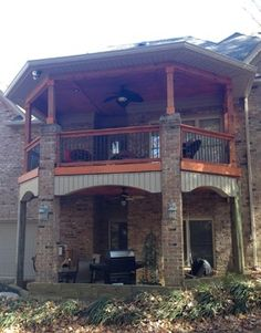 """Double-decker Open Porch with brick and cedar columns by Archadeck of Charlotte that features a """"dry deck"""" system that allows for a patio below in Matthews, NC Landscaping Around Deck, Second Story Deck, Covered Patio Design, Brick Columns, Screen House, Outside Living, Outdoor Living, Decks And Porches, House Front"""