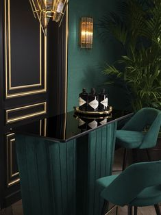 Furniture and lighting Home design Casa Art Deco, Art Deco Home, Art Deco Bar, Home Design, Home Interior Design, Art Deco Living Room, Living Room Designs, Dark Interiors, Green Rooms
