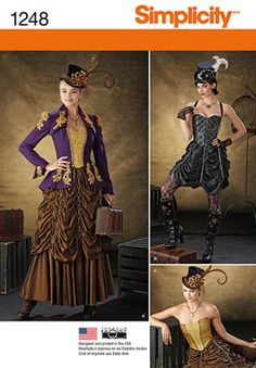Steampunk Dress Pattern, Corset Pattern, Circus Ringmaster Pattern, New Simplicity 1248 Plus Sizes, Jacket and Skirt Pattern, paper pattern by YourSewingBasket on Etsy https://www.etsy.com/listing/224326988/steampunk-dress-pattern-corset-pattern