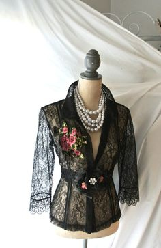 Christmas SALE Vintage shirt black lace top by TrueRebelClothing, $58.00