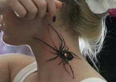 Funny pictures about Best spider tattoo ever. Oh, and cool pics about Best spider tattoo ever. Also, Best spider tattoo ever. Bild Tattoos, Body Art Tattoos, Tatoos, Neck Tattoos, Small Tattoos, Black Widow Tattoo, 3d Spider Tattoo, Tattoo Designs, Tattoo Hals