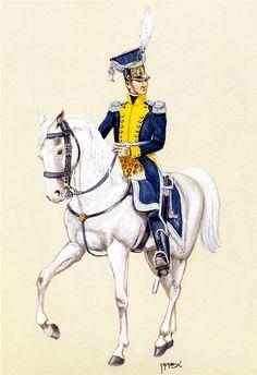 Pułkownik piechoty legionowej w mundurze polowym 1806-1807