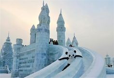 An employee wearing a panda costume slides down from an ice sculpture during the Harbin International Ice and Snow World festival in China.
