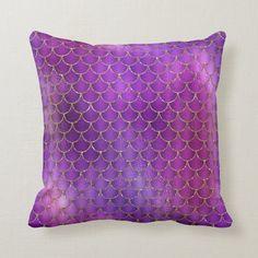 Purple Pink Iridescent Mermaid Scales Pattern Throw Pillow   Zazzle.com (sponsored) Purple Throw Pillows, Purple Home Decor, Purple Themes, Twin Quilt, Mermaid Scales, Shades Of Purple, Free Sewing, Custom Pillows, Ultra Violet