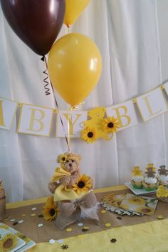 Lovely Sunflower Baby Shower Diaper Cake Balloon Por SetToCelebrate