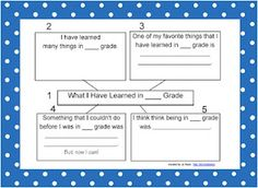 A graphic organizer to help students reflect upon their school year.  Could also be a great gift for the next year's students!