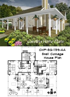images of small country cottage easily choose house plans by seeing what this open floor plan will look like with house plan views. Small Cottage House Plans, 3d House Plans, Porch House Plans, House Layout Plans, House Layouts, Affordable House Plans, Affordable Housing, Open Floor, Design Firms
