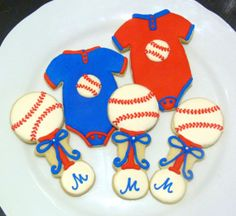 Handmade Baseball Theme Baby Shower Decorated Sugar Cookie Favors, Onesie and Rattle for Boy Baby Shower on Etsy, $33.50
