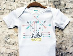 Hello World Onesie Baby Onesie Take Home Outfit by LovBugBoutique