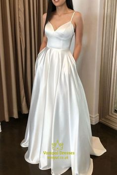 Stunning A Line Ivory V Neck Satin Spaghetti Strap Long Prom Dresses Elegant Prom Dresses, Formal Dresses, Elastic Satin, Jacket Style, Style Me, Spaghetti, Party Dress, Ivory, V Neck