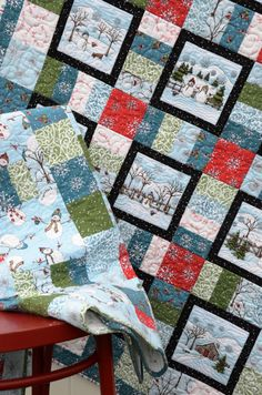 Snuggly flannel quilt for winter decorating or snuggling! Kits available
