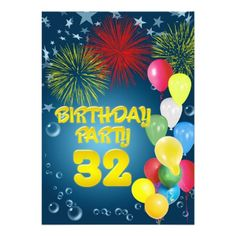 32nd Birthday party Invitation with balloons