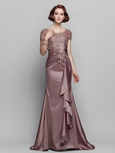 Sheath/Column Scoop Sweep/Brush Train Taffeta And Lace Mother of the Bride Dress | LightInTheBox