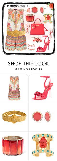 """""""Untitled #401"""" by grisucloset ❤ liked on Polyvore featuring Hale Bob, Sophia Webster, Judith Leiber, New Directions, Oscar de la Renta, Maria Francesca Pepe, Hermès and printedshorts"""