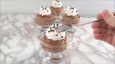 Classic Chocolate Mousse never goes out of style. This dessert is the perfect marriage of light-as-air texture and rich, chocolate-y flavor. It just melts in your mouth. scratch to Food Recipes Easy, Food Recipes Deserts Easy Cookie Recipes, Easy Desserts, Sweet Recipes, Healthy Recipes, Mousse Dessert, Dessert Drinks, Dessert Simple, Yummy Treats, Yummy Food