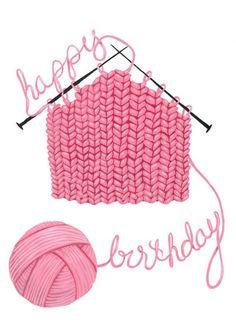 Happy birthday knitting yarn craft pink - Karine J - Pic Facebook Birthday, Birthday Pins, Happy Birthday Meme, Birthday Wishes Cards, Happy Birthday Sister, Happy Birthday Images, Birthday Love, Happy Birthday Greetings, Birthday Messages
