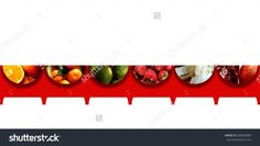Six #upside #down #semicircles with shadow below and full of various #fruits: cut #oranges, #tangerines, limes, #strawberries, cut banana and sliced pomegranate, all placed on top of a red #fringed #ribbon