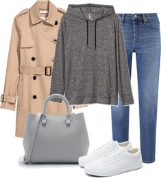 Camel Trenchcoat+grey hoodie+skinny jeans+white sneakers+grey bag. Spring Casual Outfit 2018