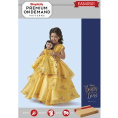 Simplicity Pattern EA840501 Child and 18 Inch Doll Disney Live Action Belle Costume