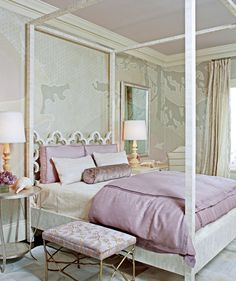 lavendar bedroom: this bedding is amazing  Love the square pillows