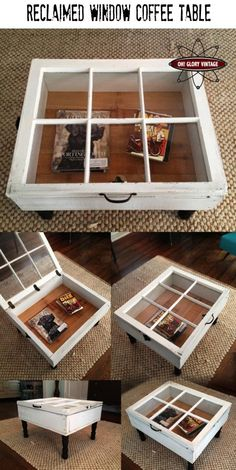 Make a coffee table from an old, reclaimed window.