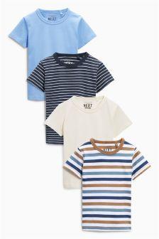Next Blue Stripe Short Sleeve Tops Four Pack (3mths-6yrs) £12