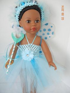 Delicate Baby Blue/Aqua Doll Fairy Costume complete by MaresMagic, $12.50