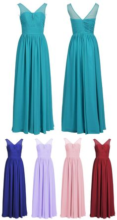 Mix Color A-line V Neck Chiffon Long Prom Dress With Pleats #prom #evening #wedding #bridesmaid #dress