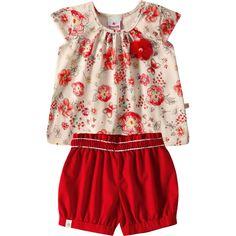 Conjunto Bebê Menina Floral com Shorts Vermelho - Brandili :: 764 Kids | Roupa bebê e infantil