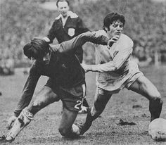 April : Eddie Gray shows the power of strength to hold off Chelsea full back David Webb in the FA Cup Final, at Wembley. Fa Cup Final, David Webb, Leeds United, Finals, Hold On, Chelsea Football, The Unit, Strength, Fictional Characters