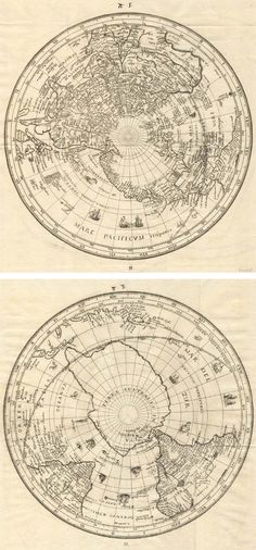 Habrecht World in 2 Hemispheres, 1628 - copper engraving Straßburg 19.5 cm sq - magnetic poles marked
