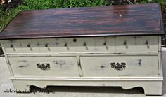 Victoria's Vintage Designs Uses General Finishes Java Stain on top Reclaimed Furniture, Distressed Furniture, Refurbished Furniture, Art Furniture, Upcycled Furniture, Furniture Makeover, Painted Furniture, Cedar Chest Redo, Coffee Table Design