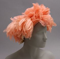 America - Woman's Hat by Gustave Tassell - Peach organza, white satin 60s Costume, Costumes, Hats For Women, Ladies Hats, Orange Hats, Feather Hat, Crazy Hats, Philadelphia Museum Of Art, Peach Orange