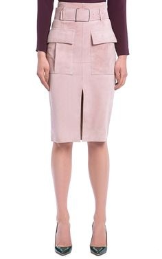 Dusty Pink Suede Pencil Skirt by Bally for Preorder on Moda Operandi