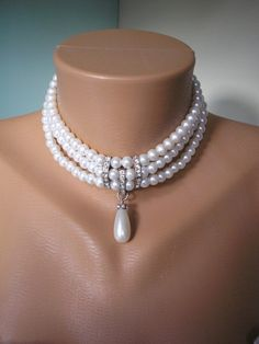 Great Gatsby Jewelry Pearl Bridal Choker Pearl by CrystalPearl, $85.00