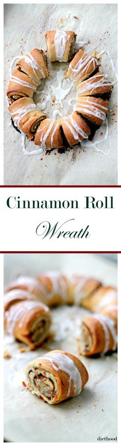 Cinnamon Roll Wreath – Festive, beautiful and delicious Cinnamon-Roll shaped into a ring and decorated with a sweet Vanilla Glaze.