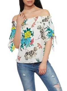 a9c9fa521efbc6 Smocked Off The Shoulder Tie Sleeve Floral Print Top