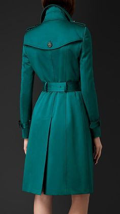 Bright teal Cotton Sateen Trench Coat - Image 2
