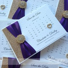 "The Cinderella Collection - Save the Date Calendar | Featuring ""Blackberry"" purple ribbon and ""Champagne"" gold glitter, with gold embellishment ""Vienna Gold"" 