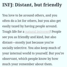 So true! A lot of these say INFJ like it's a bad thing but it's totally not! Socially selective is totally on point. If someone's a b or doesn't care we're not wasting our time pouring our soul to you! Infj Love, Intj And Infj, Infj Mbti, Isfj, Myers Briggs Personality Types, Infj Personality, Personality Psychology, Personality Profile, Infj Traits