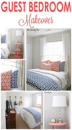 Coral and navy guest bedroom makeover! For guest bedroom Coral Bedroom, Blogger Home, Guest Bedrooms, Beach Bedrooms, Blue Bedrooms, Cottage Bedrooms, Home Decor Bedroom, Bedroom Ideas, Bedroom Images