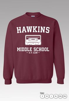 Stranger Things Sweatshirt - Hawkins Middle School A.V. Club Sweatshirt Sizes : Small - 3XL Colors : Maroon, Black , Sports Grey , Ash Grey, Red, Navy and more. Made to order. Ships 2 - 3 Business days. Ships from Southern California. All sweatshirts are Hight Quality Silk Screen Printed