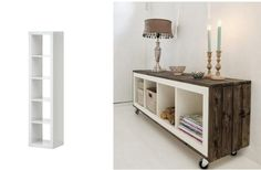 Using a simple shelf from IKEA and converting it into a nice side table stand.  Skona hem