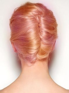 peach and pink updo #dyed #hair